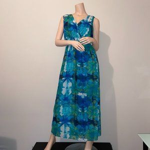 LAUNDRY BY DESIGN BLUE/TEAL SLEEVELESS MAXI DRESS